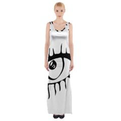 Drawn Eye Transparent Monster Big Maxi Thigh Split Dress
