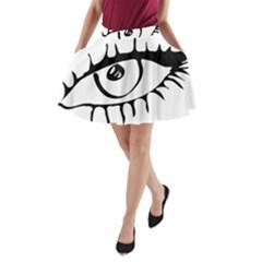 Drawn Eye Transparent Monster Big A Line Pocket Skirt