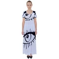 Drawn Eye Transparent Monster Big High Waist Short Sleeve Maxi Dress