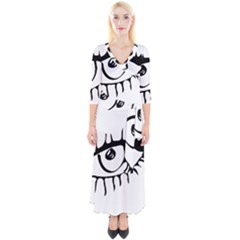 Drawn Eye Transparent Monster Big Quarter Sleeve Wrap Maxi Dress