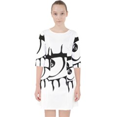 Drawn Eye Transparent Monster Big Pocket Dress