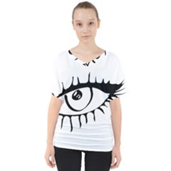 Drawn Eye Transparent Monster Big V Neck Dolman Drape Top