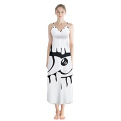 Drawn Eye Transparent Monster Big Button Up Chiffon Maxi Dress