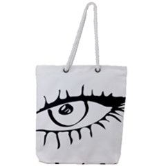 Drawn Eye Transparent Monster Big Full Print Rope Handle Tote (large)
