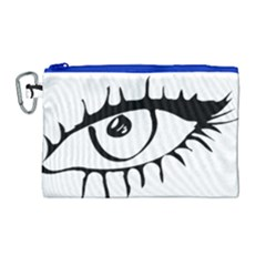 Drawn Eye Transparent Monster Big Canvas Cosmetic Bag (large)