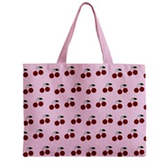 Pink Cherries Zipper Mini Tote Bag