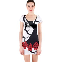 Flamenco Dancer Short Sleeve Bodycon Dress