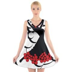 Flamenco Dancer V Neck Sleeveless Skater Dress