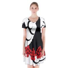 Flamenco Dancer Short Sleeve V Neck Flare Dress
