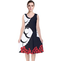 Flamenco Dancer V Neck Midi Sleeveless Dress
