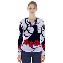 Flamenco Dancer V Neck Long Sleeve Top