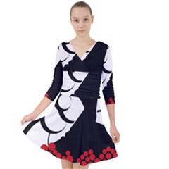 Flamenco Dancer Quarter Sleeve Front Wrap Dress