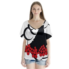 Flamenco Dancer V Neck Flutter Sleeve Top