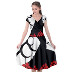 Flamenco Dancer Cap Sleeve Wrap Front Dress