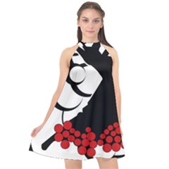 Flamenco Dancer Halter Neckline Chiffon Dress