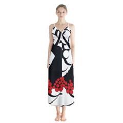 Flamenco Dancer Button Up Chiffon Maxi Dress