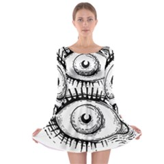 Big Eye Monster Long Sleeve Skater Dress