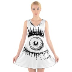 Big Eye Monster V Neck Sleeveless Skater Dress
