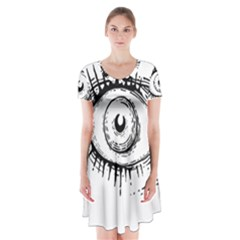 Big Eye Monster Short Sleeve V Neck Flare Dress
