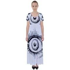 Big Eye Monster High Waist Short Sleeve Maxi Dress