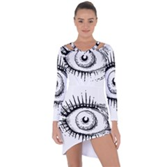 Big Eye Monster Asymmetric Cut Out Shift Dress