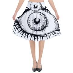 Big Eye Monster Flared Midi Skirt