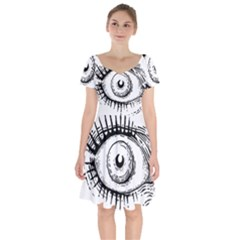 Big Eye Monster Short Sleeve Bardot Dress