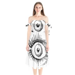 Big Eye Monster Shoulder Tie Bardot Midi Dress