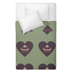 Cupcake Green Duvet Cover Double Side (single Size)