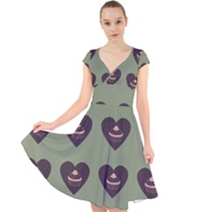 Cupcake Green Cap Sleeve Front Wrap Midi Dress