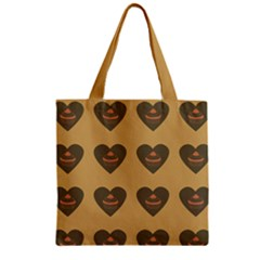 Cupcake Pumpkin Orange Grey Zipper Grocery Tote Bag