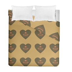 Cupcake Pumpkin Orange Grey Duvet Cover Double Side (full/ Double Size)