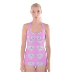 Cupcake Pink Grey Boyleg Halter Swimsuit