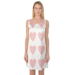 Cupcake White Pink Sleeveless Satin Nightdress