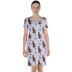 Outside Brown Cats Short Sleeve Nightdress