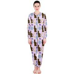 Outside Brown Cats Onepiece Jumpsuit (ladies)