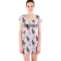 Outside Brown Cats Short Sleeve Bodycon Dress