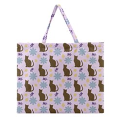 Outside Brown Cats Zipper Large Tote Bag