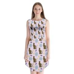 Outside Brown Cats Sleeveless Chiffon Dress