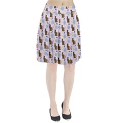 Outside Brown Cats Pleated Skirt