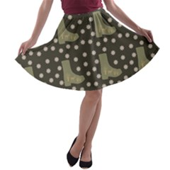 Charcoal Boots A Line Skater Skirt