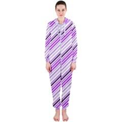 Purple Diagonal Lines Hooded Jumpsuit (ladies)