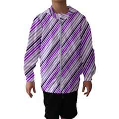 Purple Diagonal Lines Hooded Wind Breaker (kids)