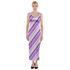Purple Diagonal Lines Fitted Maxi Dress