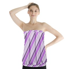 Purple Diagonal Lines Strapless Top