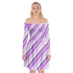 Purple Diagonal Lines Off Shoulder Skater Dress