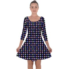 Blue Peach Green Eggs On Black Quarter Sleeve Skater Dress