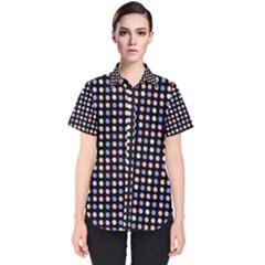 Blue Peach Green Eggs On Black Women s Short Sleeve Shirt