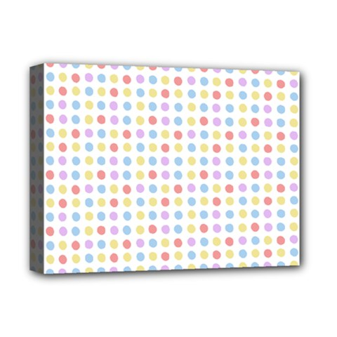 Blue Pink Yellow Eggs On White Deluxe Canvas 16  X 12
