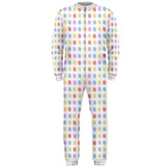 Blue Pink Yellow Eggs On White Onepiece Jumpsuit (men)